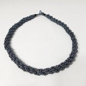 Multiple Gray Strand Braided Seed Beaded Necklace